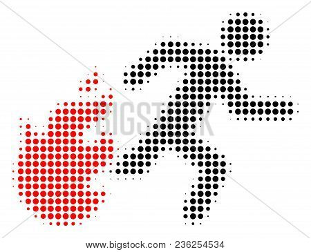 Fired Running Man Halftone Vector Icon. Illustration Style Is Dotted Iconic Fired Running Man Icon S