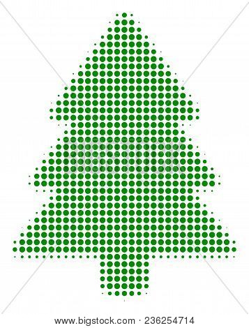 Fir-tree Halftone Vector Pictogram. Illustration Style Is Dotted Iconic Fir-tree Icon Symbol On A Wh