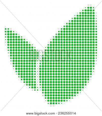 Floral Sprout Halftone Vector Icon. Illustration Style Is Dotted Iconic Floral Sprout Icon Symbol On