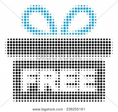 Free Gift Halftone Vector Icon. Illustration Style Is Dotted Iconic Free Gift Icon Symbol On A White