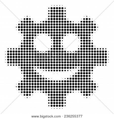 Gear Smile Smiley Halftone Vector Icon. Illustration Style Is Dotted Iconic Gear Smile Smiley Icon S