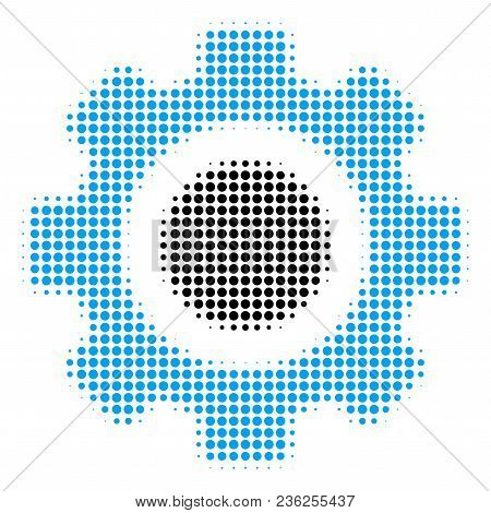 Gear Halftone Vector Icon. Illustration Style Is Dotted Iconic Gear Icon Symbol On A White Backgroun