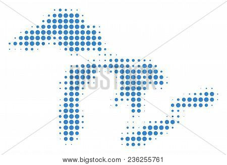 Great Lakes Map Halftone Vector Icon. Illustration Style Is Dotted Iconic Great Lakes Map Icon Symbo