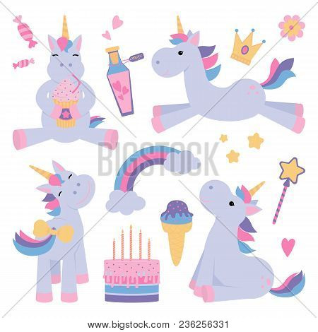 Cute Unicorns Set With Magical Elements And Wand, Bottle, Birthday Cake, Ice Cream, Stars, Crown And