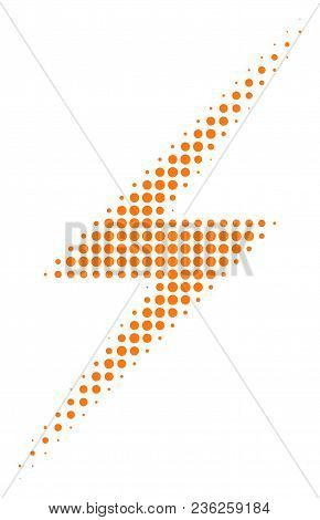 Lightning Halftone Vector Icon. Illustration Style Is Dotted Iconic Lightning Icon Symbol On A White