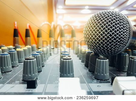 Microphones Put On The Professional Music Mixer Console
