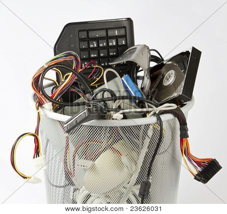 Electronic Parts From Computers In Trash Can