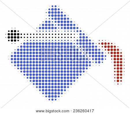 Paint Bucket Halftone Vector Icon. Illustration Style Is Dotted Iconic Paint Bucket Icon Symbol On A