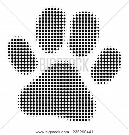 Paw Footprint Halftone Vector Pictogram. Illustration Style Is Dotted Iconic Paw Footprint Icon Symb