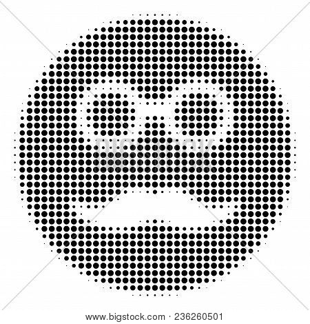 Pension Smiley Halftone Vector Pictogram. Illustration Style Is Dotted Iconic Pension Smiley Icon Sy