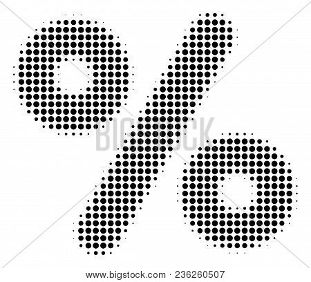 Percent Halftone Vector Pictogram. Illustration Style Is Dotted Iconic Percent Icon Symbol On A Whit