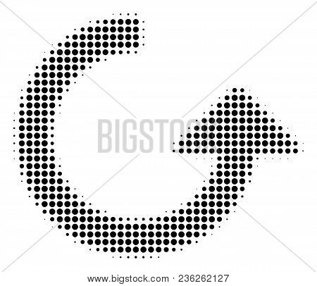 Rotate Halftone Vector Pictogram. Illustration Style Is Dotted Iconic Rotate Icon Symbol On A White