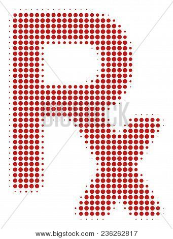Rx Symbol Halftone Vector Icon. Illustration Style Is Dotted Iconic Rx Symbol Icon Symbol On A White