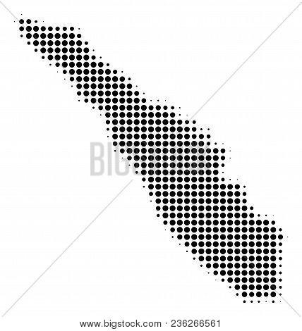 Sumatra Island Map Halftone Vector Pictogram. Illustration Style Is Dotted Iconic Sumatra Island Map