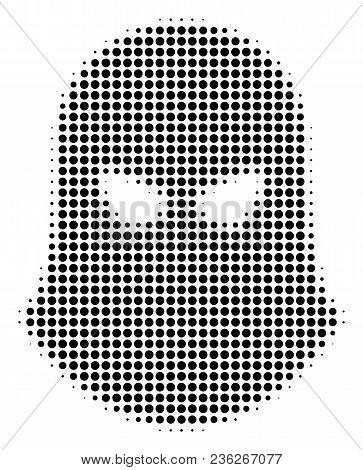 Terrorist Balaklava Halftone Vector Icon. Illustration Style Is Dotted Iconic Terrorist Balaklava Ic