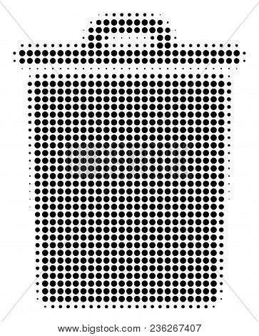 Trash Bin Halftone Vector Pictogram. Illustration Style Is Dotted Iconic Trash Bin Icon Symbol On A