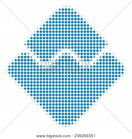 Waves Currency Halftone Vector Icon. Illustration Style Is Dotted Iconic Waves Currency Icon Symbol