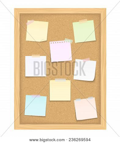 Eight Blank Paper Notes On Vertical Bulletin Board, Vector Eps10 Illustration