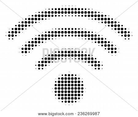 Wi-fi Source Halftone Vector Icon. Illustration Style Is Dotted Iconic Wi-fi Source Icon Symbol On A