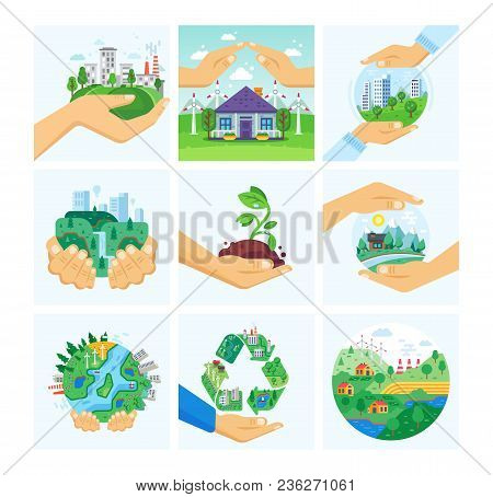 Set Of Environment Protection, Use Alternative Energy, Careful Attitude To Nature. Clean City, Prese