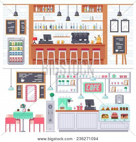 Set Of Interior Of Room Bar, Pub, Cafe. Bar Stand, Chairs, Shelves With Alcohol Products, Snacks, Dr