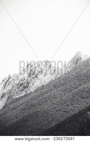 Snowy peak in Aspe Valley, France.