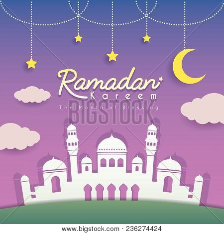 Ramadan Greeting Card. Mosque Silhouette With Crescent Moon, Stars And Clouds As Background. Vector