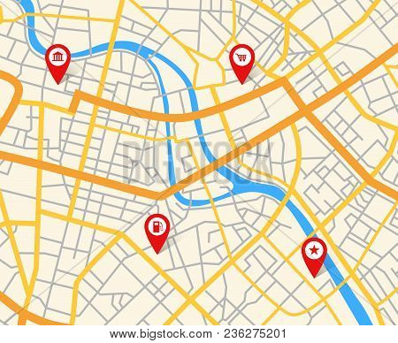 Navigation European City Map With Pins. Abstract Cartography Vector Pattern. Street City Cartography