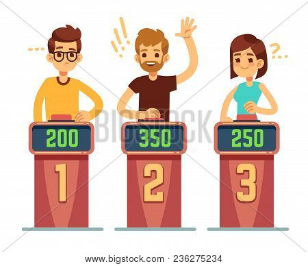 People Answering Questions And Pressing Buttons On Quiz Show. Conundrum Game Competition Vector Conc