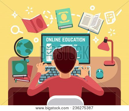 Student Or School Boy Studying On Computer. Online Lesson And Education Vector Concept. Student At C