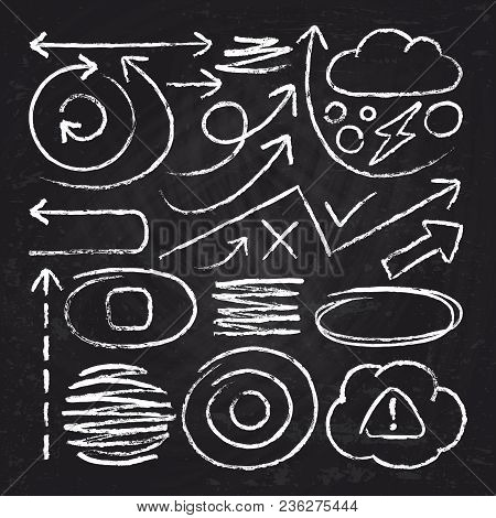 Doodle White Arrows And Chalk Design Stroke Scribble Elements. Sketch Circle, Line, Round Borders Ve