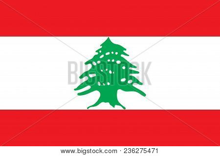 Flag Of Lebanon Official Colors And Proportions, Vector Image