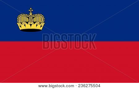 Flag Of Liechtenstein Official Colors And Proportions, Vector Image