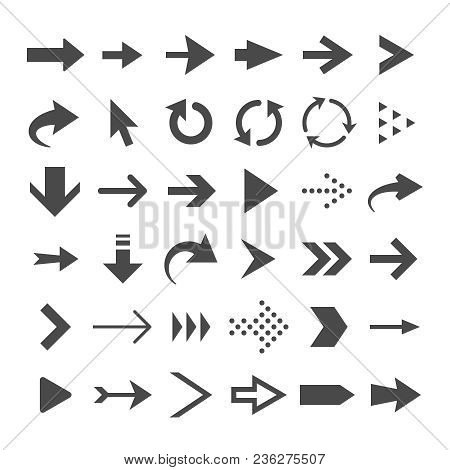 Arrow Web Icons Isolated, Cursor Arrows, Download And Next Page Navigation Buttons Vector Set. Inter