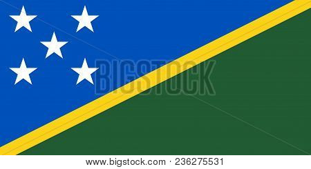 Flag Of Solomon Islands Official Colors And Proportions, Vector Image