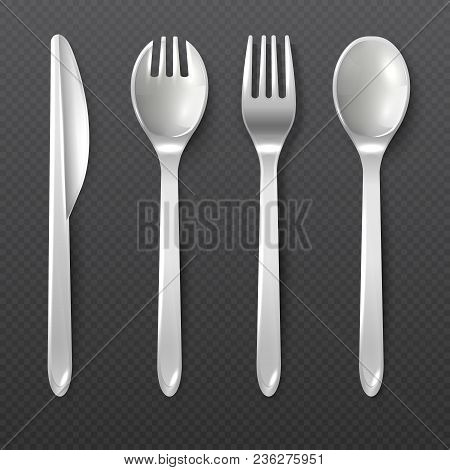 Realistic Disposable White Plastic Spoon, Fork And Knife Vector Isolated Cutlery. Illustration Of Pl