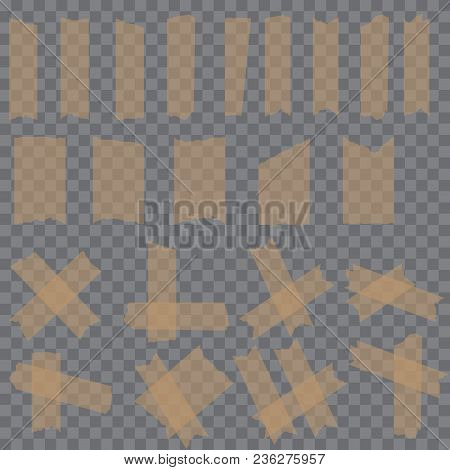 Set Of Sticky Glue Scotch Tape Pieces On Transparent Background. Vector