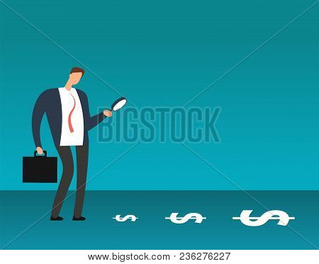 Businessman With Magnifying Glass Looking At Dollar Symbols. Searching For Profit Business Vector Co