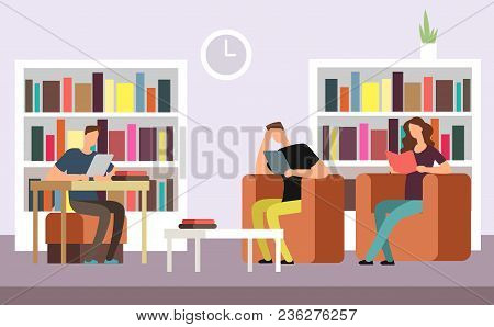 Students Reading And Searching Books In Public Library Interior With Bookshelves Cartoon Vector Illu