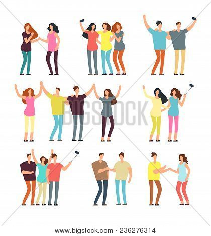 Neighbors Men And Women Characters. Friends Groups. Good Neighborhood Vector Cartoon Friendly People