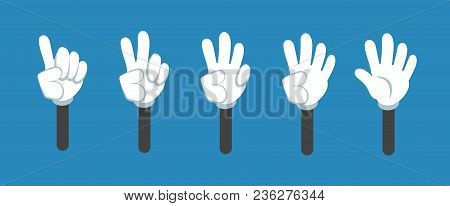Cartoon Counting Hand With Number Gestures Isolated Set. Countdown With Fingers Vector Symbols. Cart