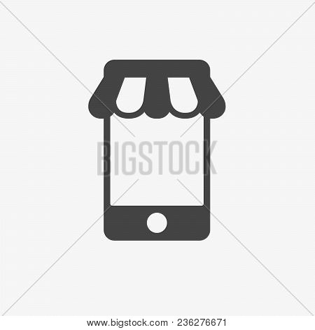 Mobile Shop Vector Icon. Shopping, Online Shop, E-commerce, Commerce, Eshop, Purchase, Buy Concept.