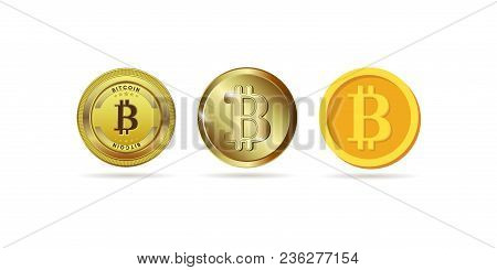 Bitcoin Set. The Physical Bit Is A Coin. Digital Currency. Crypto Currency. Gold Coin With A Bitcoin