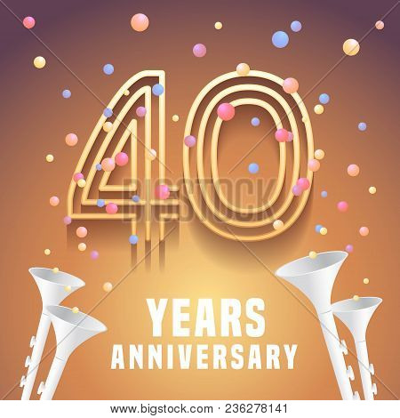 40 Years Anniversary Vector Icon, Symbol. Graphic Design Element With Festive Background And Horns F