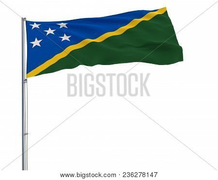Isolate Flag Of Solomon Islands On A Flagpole Fluttering In The Wind On A White Background, 3d Rende