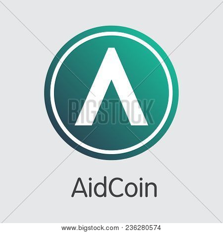 Aidcoin - Blockchain Cryptocurrency Concept. Colored Vector Icon Logo And Name Of Crypto Currency On