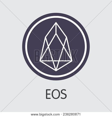 Eos Blockchain Based Secure Blockchain Cryptocurrency. Isolated On Grey Eos Vector Pictogram.
