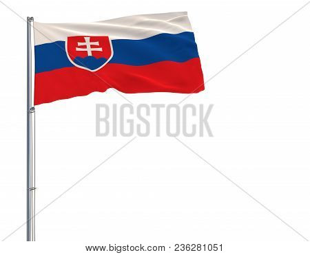 Isolate Flag Of Slovakia On A Flagpole Fluttering In The Wind On A White Background, 3d Rendering, 4