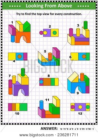 Educational Math Puzzle: Find The Top View For Each Of The Toy Building Blocks Constructions. Answer