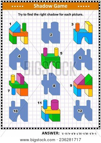 Iq Training Visual Puzzle Or Picture Riddle: Try To Find The Right Shadow For Every Building Blocks